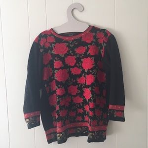 Vintage 80s Lafayette sweater black with red roses